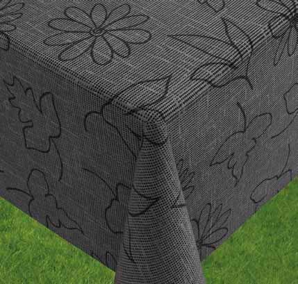 friedola1888 Gartentischdecke Miami Druck, Modern Flower Grey, 160 cm, Rund, 25312