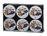 Smart Planet® Kerzen Ambiente - 6er Set Teelichter Happy Birthday Teelicht - Geburtstags Kerze - Geschenk Teelicht