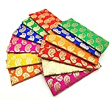 Satyam Kraft Shagun Brocade Envelopes Multicolor Party Festivals/Gifts/Shagun/Cash Envelopes (6, Brocade Design)//Diwali Lights