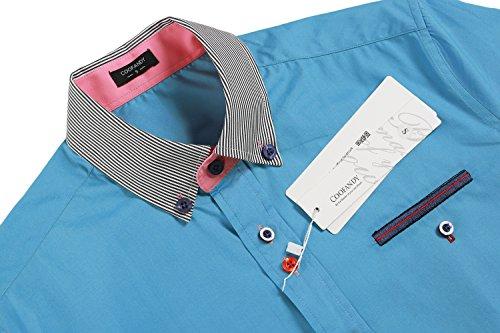 Coofandy Herren Schick Sommer Stilvolle Casual Kurzarm Business Freizeit Hemden Slim Fit Oberhemd See blau