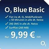 Telefonica o2 Blue Basic [Nano SIM] - Flat ins deutsche o2-Netz, 50 Minuten und 200 SMS in alle anderen deutschen Netze, 200 MB Daten-Flat - 9,99 Euro/Monat bei 24 Monaten Vertragslaufzeit