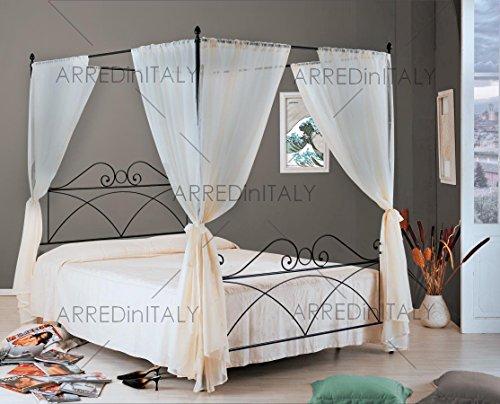 Letto matrimoniale in ferro colore nero grafite con giroletto completo di rete ortopedica e materasso air memory 160 x 190 cm. - prodotto made in italy - arr214