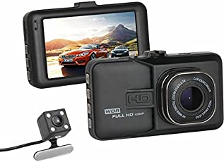HTSA H1080P LCD 170 Degree Lens G-Sensor Motion Detector, Loop Recorder, 32GB Support (Front+Rear) Car Dash Camera, 3 Inches (Black, htsa-dash)