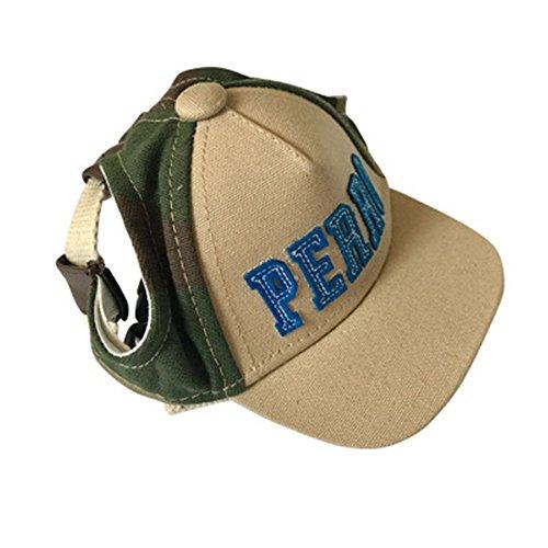 Creatwls-Baseballkappe für Haustiere, Segeltuch, Sonnenschutz, Visier mit Ohrlöchern, für Welpen, Katzen, ()