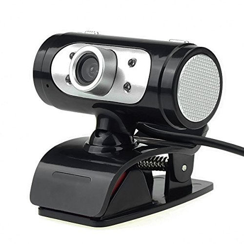 Leoking Webcam - Cámara web USB 2.0 HD 720P con luces LED de Micrófono Clip-on 360 Grados por negro negro