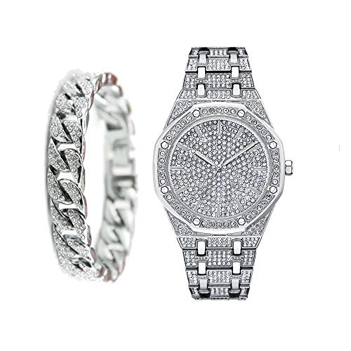 Bling-Ed Out Rapper Hip Hop Damen Herrenuhr mit Bling-Ed Out CZ Miami Cuban Bracelet Set