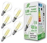 GreenAndCo 5X Glühfaden LED Lampe ersetzt 35 Watt E14 G45 Birne, 3W 400 Lumen 2700K warmweiß Filament Fadenlampe 360° 230V AC Nur Glas, Nicht dimmbar, flimmerfrei, 2 Jahre Garantie