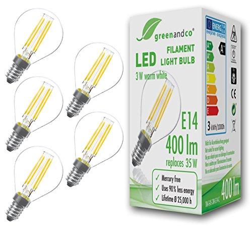 greenandco 5 lampadine a filamento LED E14 3W (equivalente a 35W) 400lm 2700K (bianco caldo) 360° 230V AC Vetro, non dimmerabile