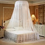 iBaste Moskitonetz Prinzessin Hängende Runde Spitze Baldachin Bett Netting Comfy Student Dome Moskitonetz für Kinderbett Twin Full Queen-Bett (Weiß)