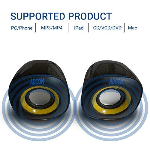 Adcom Mini 2.0 USB Multimedia Speakers Portable Laptop/Desktop Speaker  available at amazon for Rs.269