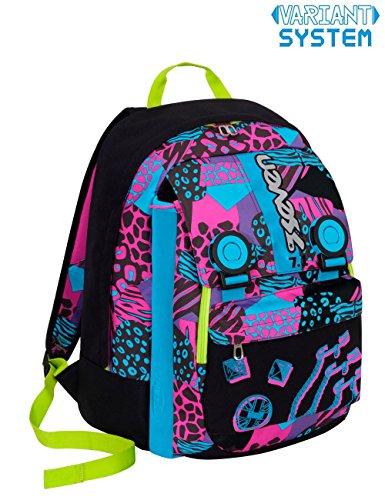Zaino scuola seven - swag girl - nero azzurro rosa - estensibile - variant system - 32 lt - elementari e medie inserti rifrangenti