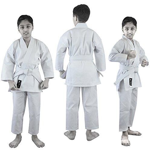 Verus Erwachsene & Kinder Karate-Anzug TKD GI Martial Arts Uniform mit Free Gürtel Weiß, Unisex, Weiß, 7 (Für Karate-gi Erwachsene)