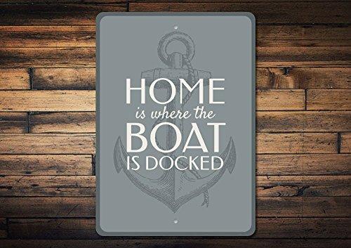 Boat Dock Schild, Boot, Haus, Boot, Ankerschild, Ankerschild, Boat, Besitzer, Geschenk, Familie, Boot, Dekoration, hochwertiges Metall, 20,3 x 30,5 cm