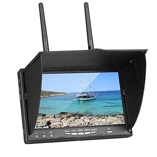 Wokee 7'' FPV Monitor 5.8GHz HD IPS 800x480 Display FPV Kamera Bildschirm mit Eingebauter Batterie für RC Quadcopter Drohne Überwachen Sie 7