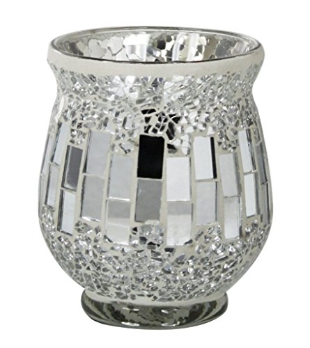 Sparkling Silver Mirror Mosaic Hurricane Candle Holder