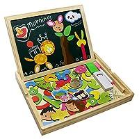 ❤ Fajiabaopuzzle legno,accompagna i tuoi figli a trascorrere un'infanzia felice e meravigliosa. Si prega notare: La maggior parte del consiglio di amministrazione sul mercato sono un solo lato magnetico. Ma il nostro bordo sono a doppia faccia magn...