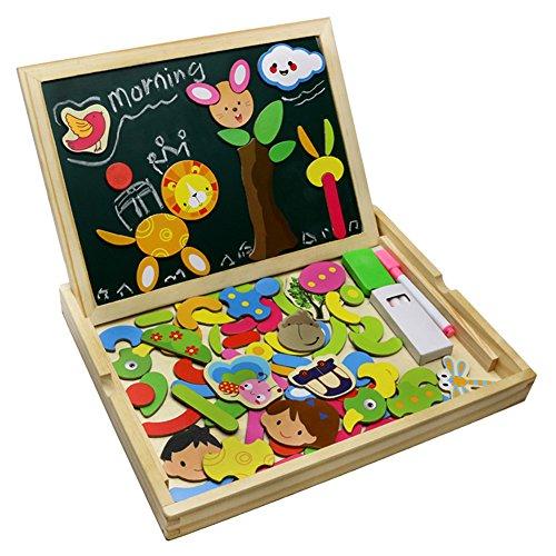Preisvergleich Produktbild Holzpuzzle Tafel Magnetisches Legespiel Lernspiel Doppelseitige Intelligentes Spiel ab 3 jahre Kinder