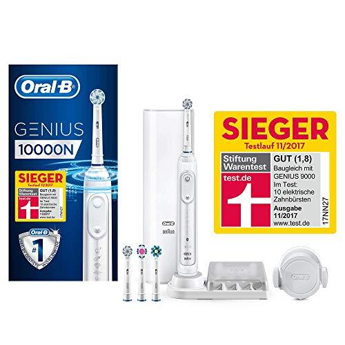 Oral-B Genius 10000N Elektrische Zahnbürste mit Zahnfleischschutz-Assistent und Premium Lade-Reise-Etui, weiß - Premium-stiftung