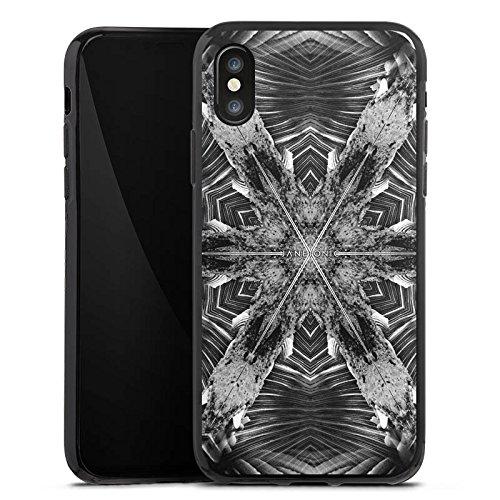 Apple iPhone X Silikon Hülle Case Schutzhülle Abstrakt Batik Tie Dye Silikon Case schwarz