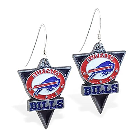 MsPiercing Mspiercing Sterling Silver Earrings With Official Licensed Pewter NFL Charm, Buffalo