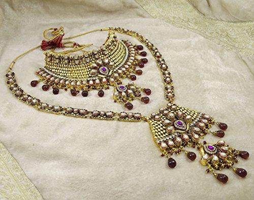 Banithani Définir Mariage Bollywood Traditionnel Cadeau De Bijoux Collier De Mariée Pour Les Femmes pourpre et or