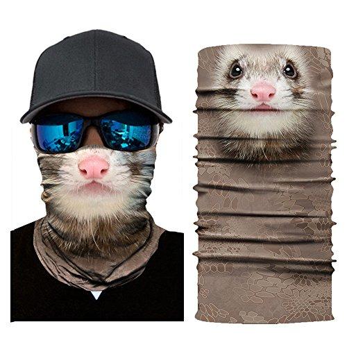Kostüm Maske Ski - Unisex Multifunktionstuch,BJJH Mikrofaser Bandana Sturmmaske Schlauchtuch 3D Tiere Maske Halstuch für Motorrad Fahrrad Ski Paintball Gamer Karneval Kostüm (M)