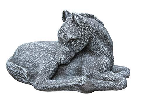 Tiefes Kunsthandwerk Steinfigur Pferd klein in Schiefergrau, Fohlen, Figur, Deko