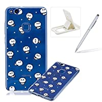 Clear Case for Huawei P10 Lite,Soft TPU Cover for Huawei P10 Lite,Herzzer Ultra Slim Stylish [Lovely Panda Printed] Shock-Absorbing Silicone Gel Bumper Cover Flexible Transparent Skin Case for Huawei P10 Lite