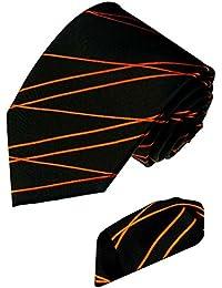 LORENZO cANA marques lot de 2 100%  soie-seidenkrawatte einstecktuch 8452001 et rayures-noir/orange