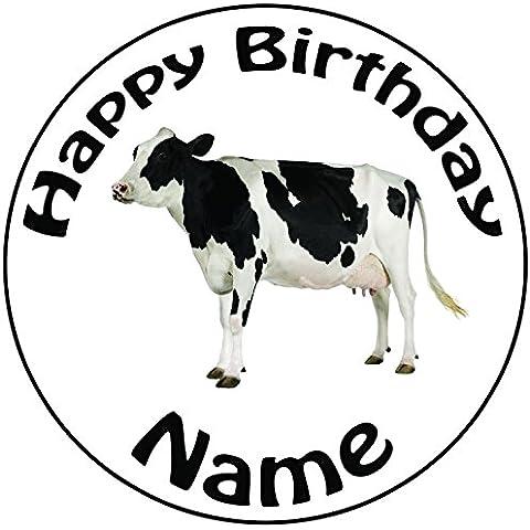 Personalizzabile Mucca–Topper per torta a pre-cut rotondo 8