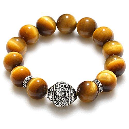 De cristal naturel Dragon Tigre oeil thaïlandais argent bracelets de perles/ l'atmosphère sauvage des bijoux de mode D
