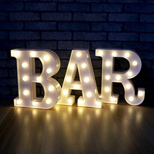 oamore LED Alphabet Licht Brief Dekorative Lampe Licht LED Weiß Beleuchtete Buchstaben und Zahlen für Geburtstag Hochzeit Bar Wandbehang Dekor (BAR)