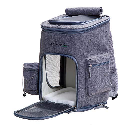 Maxmer Hunde Rucksack Katze Transsporttasche Faltbar Oxford Tuch/ Atmungsaktiv Netzfenster/ Soft-seitig/ 3-Öffnen für Hunde,Welpen, Katzen usw. (Lila/Blau/Grau) (Grey)