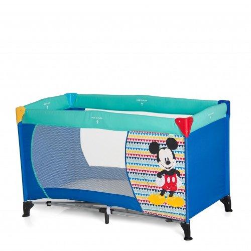 Hauck Kindereisebett Dream N Play Disney, inklusive Matratze und Transporttasche, 120 x 60 cm, ab Geburt, tragbar und faltbar, blau (Mickey Geo Blue)