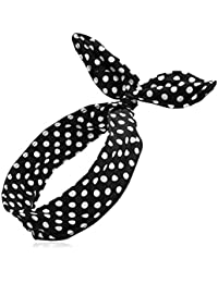 ifyou mujeres niñas–Disfraz de lunares algodón diadema orejas de conejito conejo Diademas Cruz turbante cinta para el pelo trenzado de nudo pañuelo para la cabeza Black + White Polka Dot