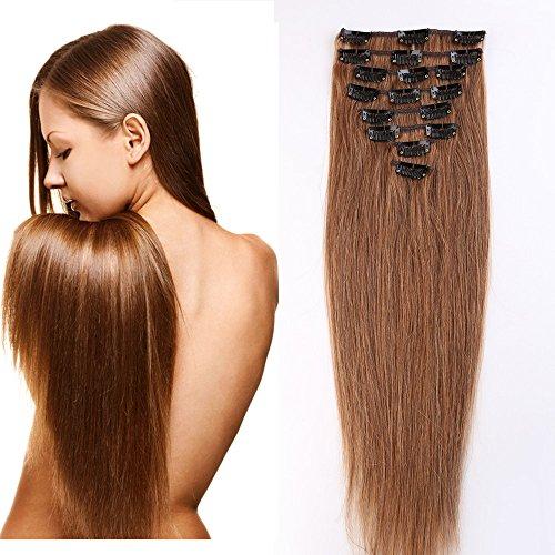 8pz 18 clips 50cm extension capelli veri clip lisci lunghi testa completa vari colori parrucca donna 06#
