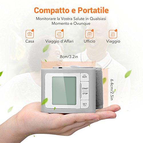 Mpow Misuratore di Pressione da Polso con MEMS Sensore di Pressione con Bracciale Confortevole (13,5 cm-21,5 cm), Operazione di Un-Tasto con 60 Memoria di Misura, Ampio Display LCD, per Uso Domestico, Garanzia a Vita