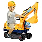 Ultrey Sitzbagger Sandspielzeug Bagger Voll funktionsfähiger Kunststoff Bagger mit Bauhelm für Kinder 360 Grad Drehbar (1 X Schaufeln)