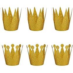 SunBeter 6 piezas sombrero de fiesta de cumpleaños brillo de papel príncipe princesa corona sombrero para niños y niñas decoración de cumpleaños suministros (dorado)
