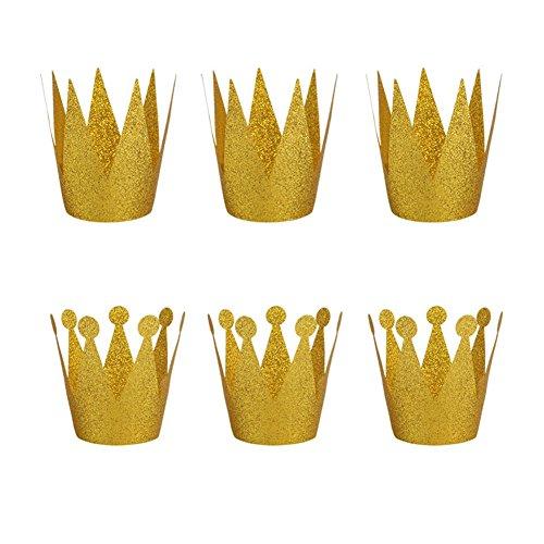 SunBeter 6 Pcs Festa di compleanno Cappello di carta Glitter Prince Princess Crown Hat per ragazzi e ragazze Decorazioni di compleanno forniture (Golden)