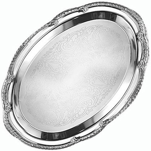 American Metalcraft STOV96 Stainless Steel Affordable Elegance Oval Serving Tray, 9-1/2-Inch, Chrome by American Metalcraft Oval Steel Serving Tray