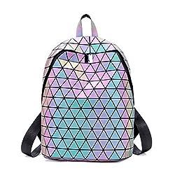 FZChenrry Geometrischer Rucksack Geometrisch Holographic Taschen Damen Leuchtend Rucks?cke Reflektierend Festival Tasche NO.3