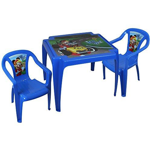 TW24 Disney Kindertisch mit 2 Stühlen - Kindersitzgruppe - Kunststoff Sitzgruppe mit Farbauswahl (Mickey Mouse Race)