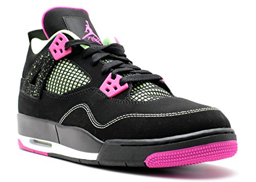 Nike Damen Air Jordan 4 Retro 30Th GG Laufschuhe, Schwarz/Rosa/Weiß (Schwarz/Fuchsia-Flash-RFL LM-Wht), 42 1/2 EU (Jordan Retro 4 Schwarz Und Weiß)