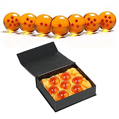 SIMUER Juego de bolas de juego de acrílico transparente (7 unidades, 4,3 cm, con caja de regalo), diseño de estrellas