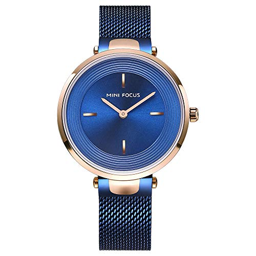 Dress Watch Ladies Silver Business Casual Blue Rose Gold Watch Minimalist Watch Simulation Imported Quartz Edelstahl Strap