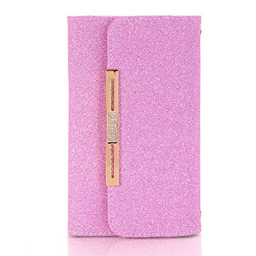 Schutzhülle für iPhone 6, TechCode Chain Wallet Schutzhülle PU Leder Flip Case Tasche mit Standfunktion und Karte Halter für iPhone 6/6S (iPhone 6/6S, Goldene) Hot Pink