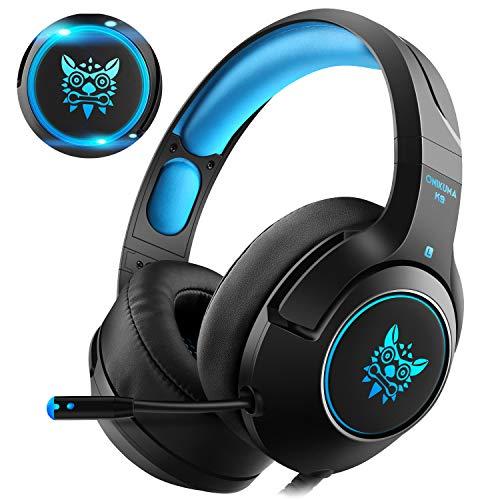 Casfansta Elite Gaming-Headset für Xbox One PS4 mit Mikrofon, 7 Bunte LED-Lichter, 7.1 Surround-Sound, einziehbares Mikrofon mit Geräuschunterdrückung für PC, Nintendo und Mac blau blau - Elite Gaming-headset