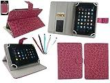 emartbuy 5 Doppelfunktion Eingabestift+Universalbereich Faux Veloursleder Leopard Hot Rosa Folio Wallet Tasche Etui Hülle mit Kartensteckplätze Geeignet für I.onik TP - 1200QC(7.85 Zoll)