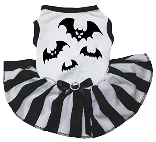 petitebelle Puppy Kleidung Hund Kleid Halloween Fledermaus weiß TOP Schwarz Weiß Tutu (Fledermaus Kostüm Hund)